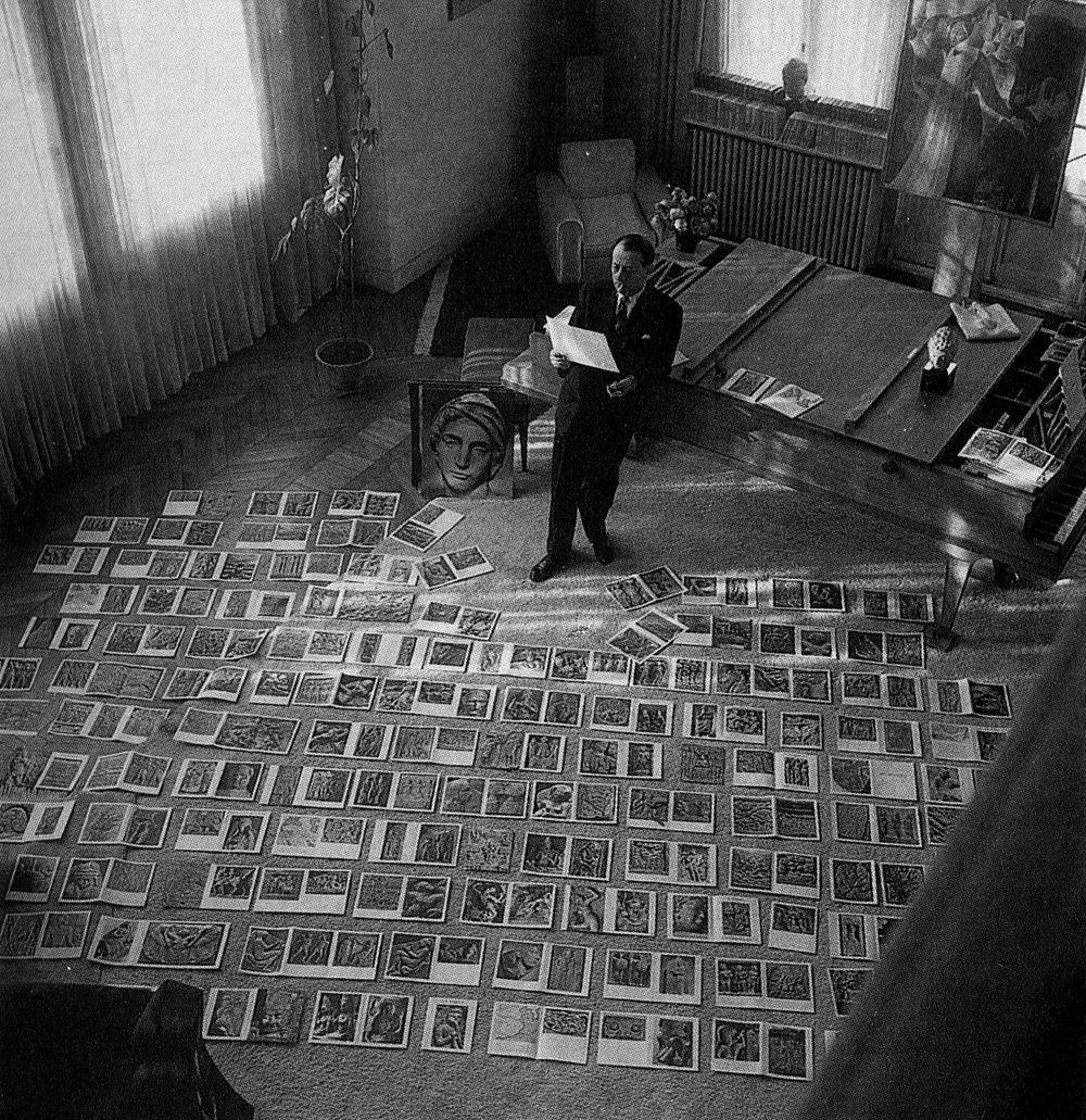 André Malraux while working on his book  Lemusée imaginaire de la sculpture mondiale , based on the premise of the  musée imaginaire , or the imaginary museum, 1954.