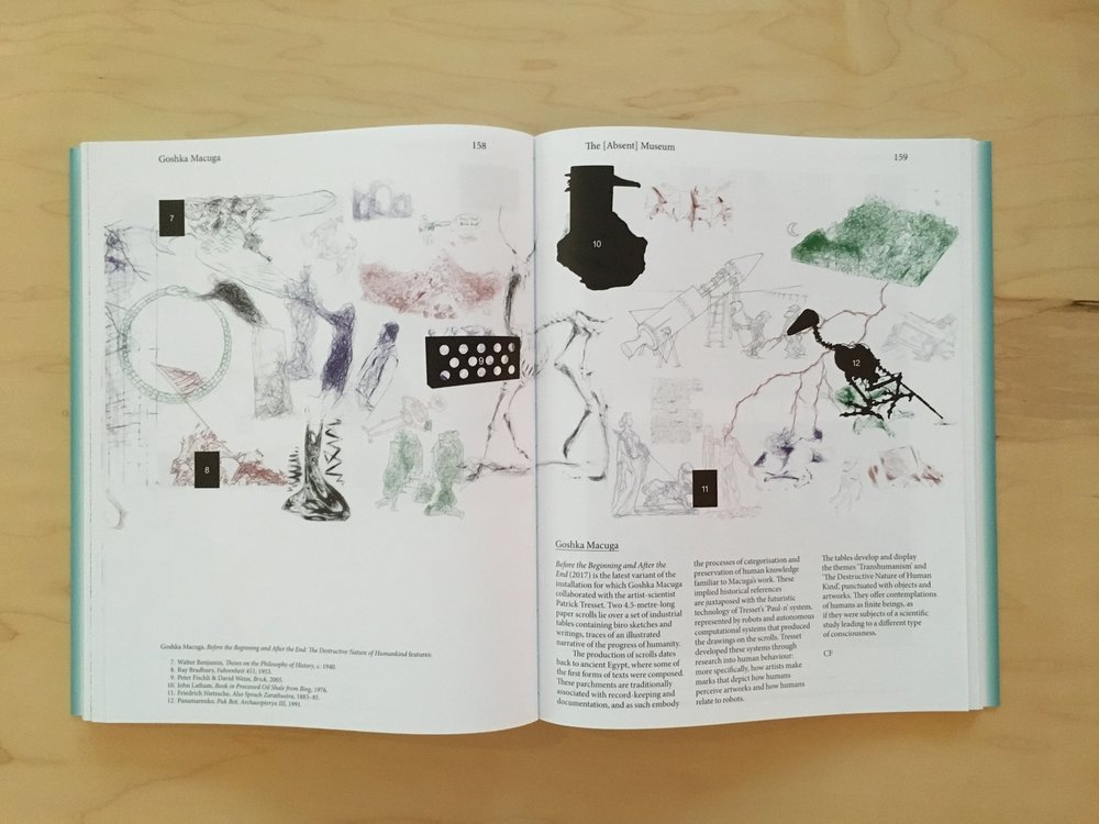 Goshka Macuga, Before the Beginning and After the End: Transhumanism , 2017, in The Absent Museum: Blueprint for a Museum of Contemporary Art for the Capital of Europe .Edited by Dirk Snauwaert (Brussels: WIELS, New Haven: Yale University Press, 2017).
