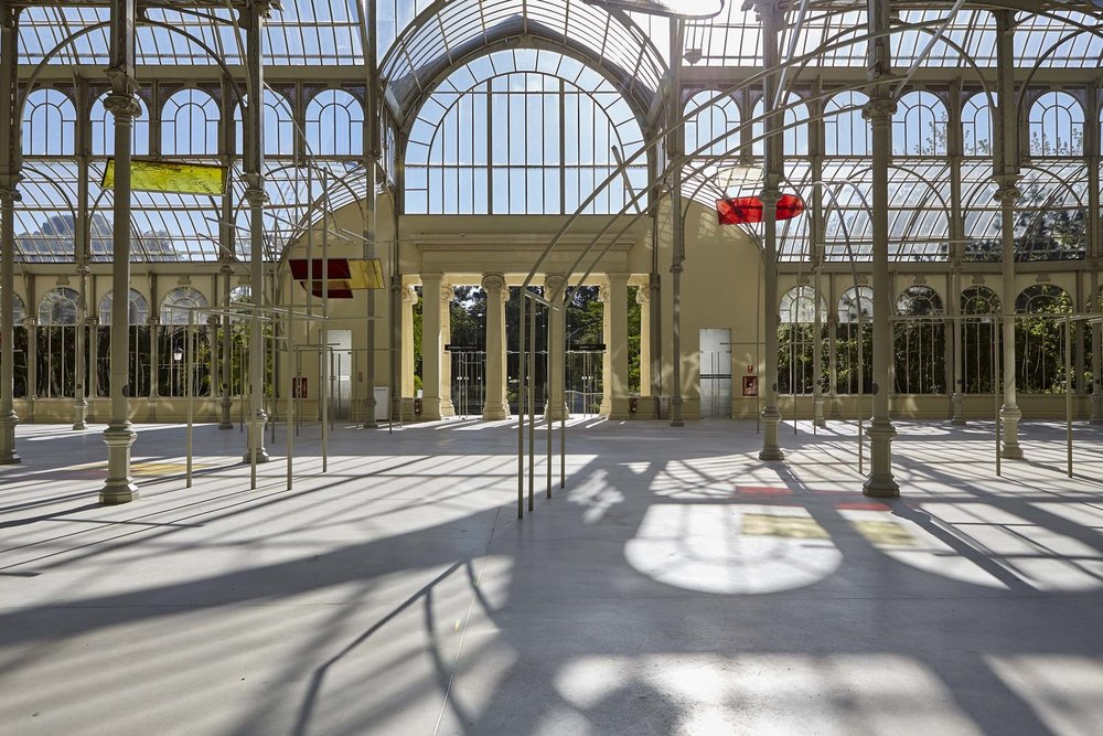 Rosa Barba,   Solar Flux Recordings, 2017; metal, color glass filters, and engraved plates. Installation view, Palacio de Cristal, Museo Nacional Centro de Arte Reina Sofía, Madrid. Photo: Joaquín Cortés / Román Lores © Rosa Barba