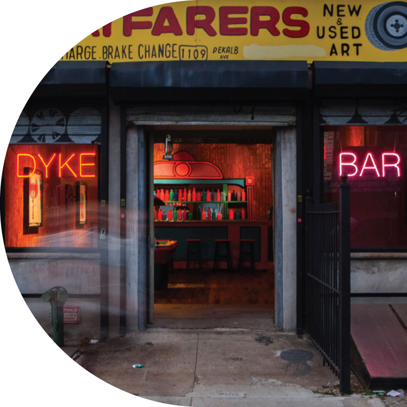 Image: Macon Reed,  Eulogy for the Dyke Bar , Plastic and digital photo reproductions. Dimensions vary. Wayfarers Gallery, New York, NY, 2015.