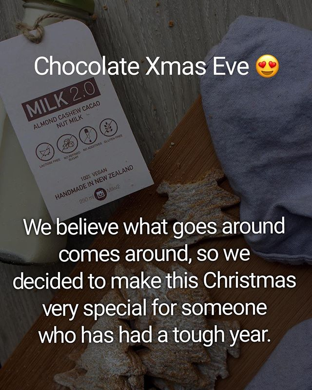 "🎄Milk 2.0 Smile giveback 🎉 Chocolate Xmas Eve Delivery 😍  It's nearly Christmas so what better way to celebrate and recognize those in need! This year has been a tough year for us, but with your love, support and belief we made it to where we are now! We believe what goes around comes around, so we decided to make this Christmas very special for someone who has had a tough year. . The next 5 days we will be running ""Milk 2.0 Smile giveback"" giveway, and it's your chance to tag someone who really ""deserves a smile"" . To participate you just need to nominate someone, whose has had a tough year due to some circumstances and comment why their year was tough (whatever you can share). We will randomly select 3 people this saturday (22nd) and will deliver 4 bottles of our delicious Chocolate Milks each on Xmas Eve (24th) with some surprise gifts :) . Our chocolate milks includes 21% nuts and seeds (cashew / almond / cacao) and is gluten free, contains no additives, no refined sugars and is handmade in N.Z! 🎁 . To enter all you have to do is: ✴️ Follow @milkv2 ✴️Nominate someone in the comment who has had a tough year. ✴️Comment why their year was tough (whatever you can share) 1 paragraph is fine in the comment below . Milk 2.0 will be delivering milk to them Xmas Eve so only limited to Auckland :) In no way associated with Instagram. . 🎉 Good luck everyone! 🎉 .  #whatgoesaroundcomesaround  #helpinthoseinneed  #giveback  #helpingothers  #helping  #helpinghand"
