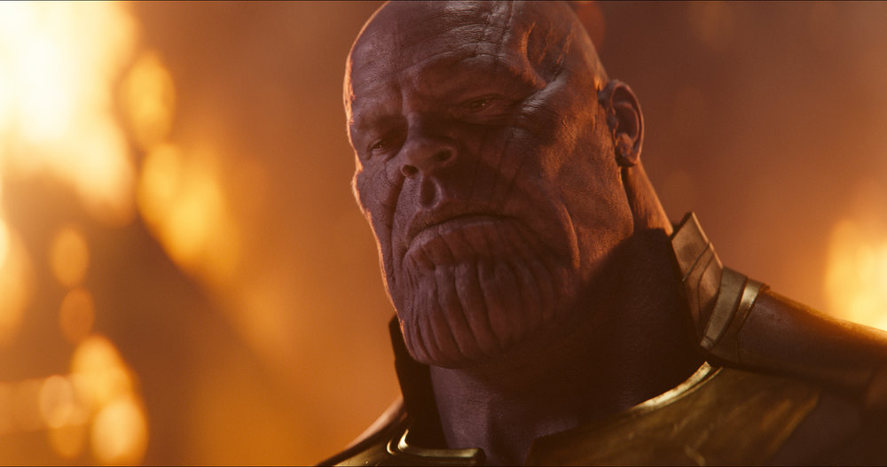 """In """"Avengers: Infinity War,"""" Thanos (Josh Brolin) contemplates the universe. Specifically, how to kill half of it. (Images courtesy Disney/Marvel)"""