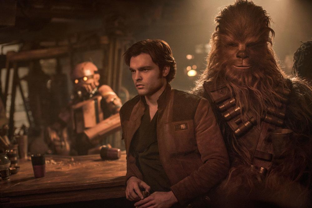 "Han Solo (Alden Ehrenreich) and Chewbacca (Joonas Suotamo) in ""Solo: A Star Wars Story."" (Photo courtesy Lucasfilm/Disney)"