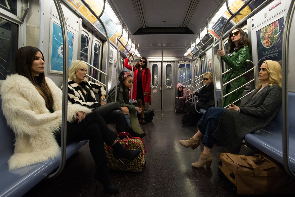 "Sandra Bullock leads ""Ocean's 8"" (Photo courtesy Barry Wetcher/Warner Bros.)"