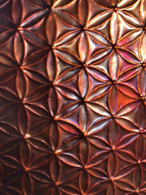 Flower of life copper repousse panel