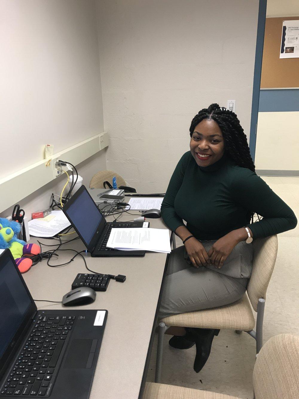 Jojo working in the lab.