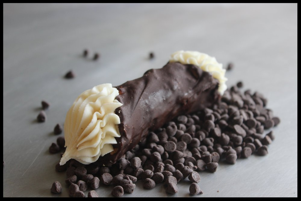 Chocolate Cannoli - Cannoli cheese in a chocolate dipped shell.
