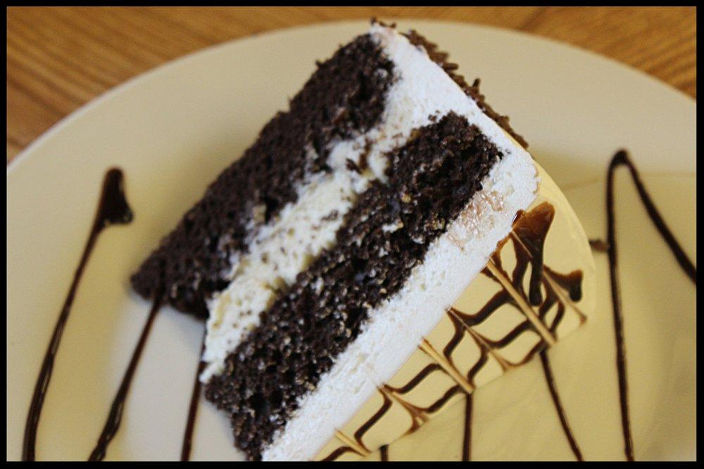 Chocolate Cannoli Slice - Chocolate cake with cannoli filling.