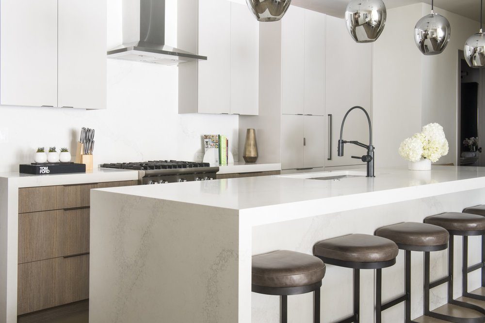 Modern kitchen with kitchenware and faucet
