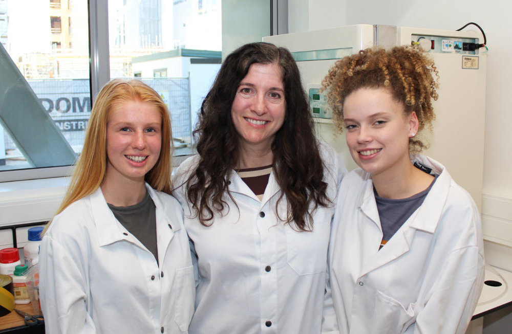 (Pictured left to right) From the University of Canterbury's College of Engineering, student Grace Elliot, Mechanical Engineering Senior Lecturer Dr Debbie Munro, and student Ella Guy aim to use their engineering skills to improve global health.