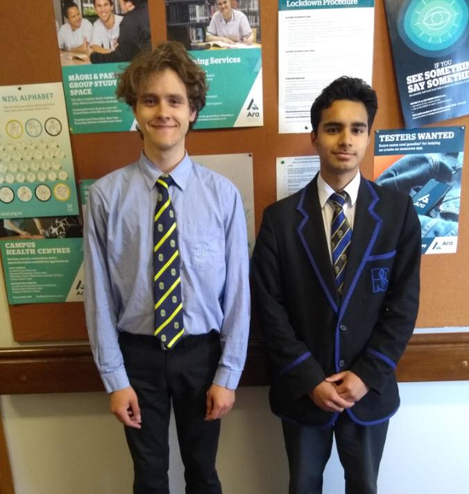 Dan Bublik (L) from Shirley Boy's High School and Alok Chander from Christchurch Boy's High School study Digital Technologies at school thanks to Ara.