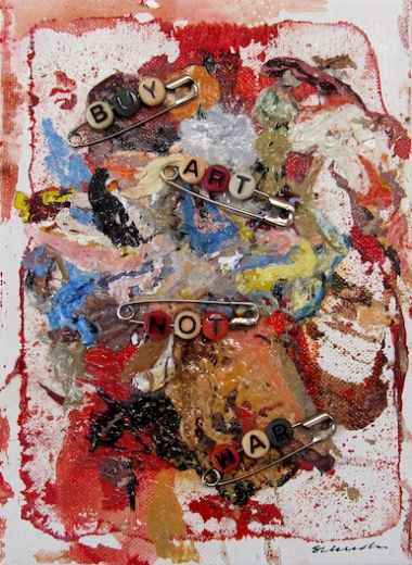 """BUY ART NOT WAR #1   2016 & 2018  8"""" x 6""""  Mixed media: acrylic paint, beads, safety pins, and paint skins on canvas   $60 each"""
