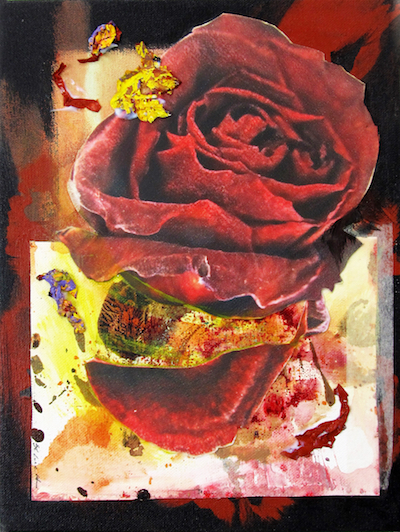 "Rosa Dividido #2    2018  12 "" x 9""  Mixed media: photo print transfers, acrylic paint, and acrylic paint skins on canvas   $100"