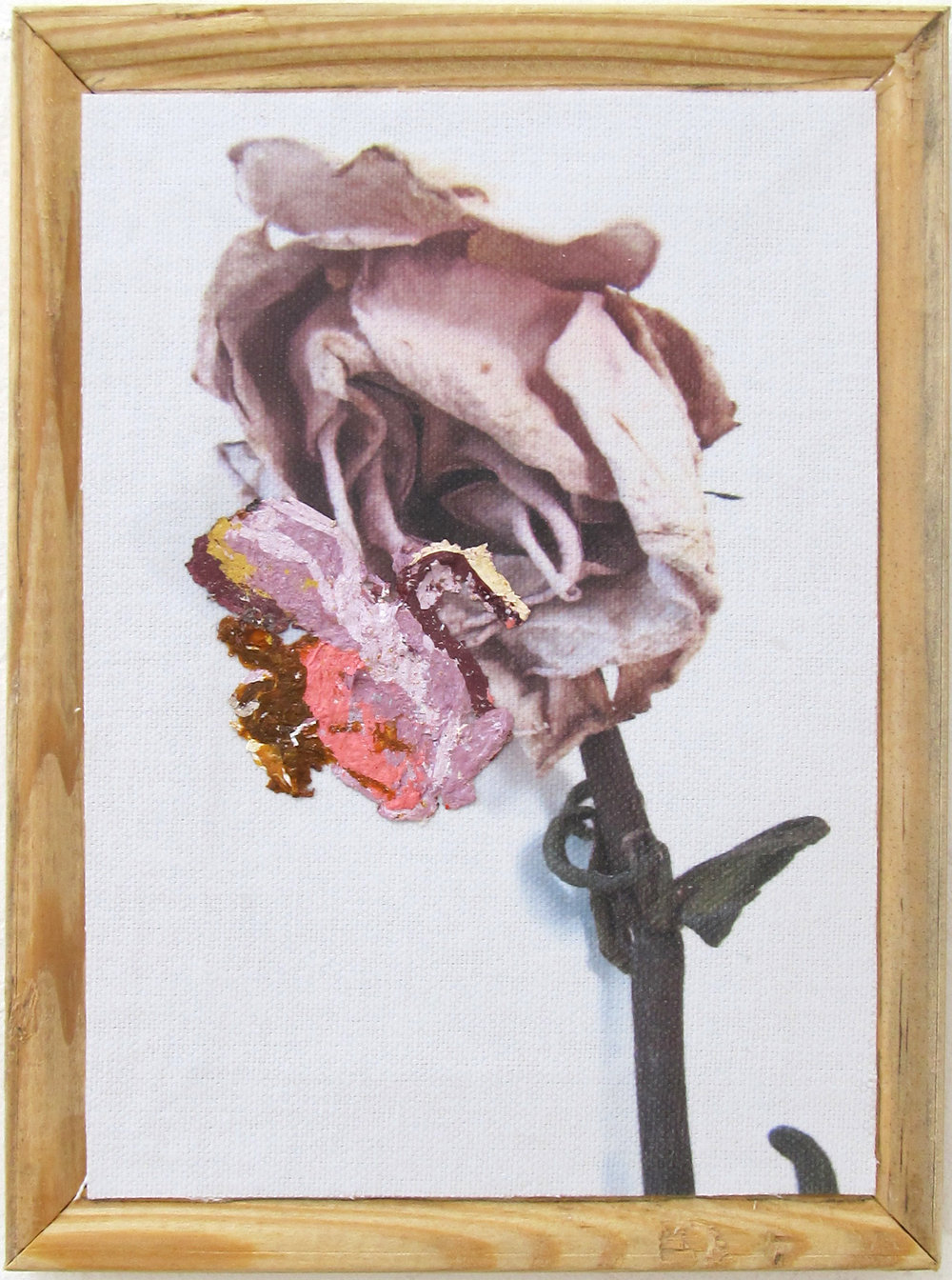 """My Sunburn was a Real Beauty #1   2016 & 2018  8"""" x 6""""  Mixed media: photo print transfer and acrylic paint skins on stretcher bar backs   $60  each or  $150  for all three/triptych"""
