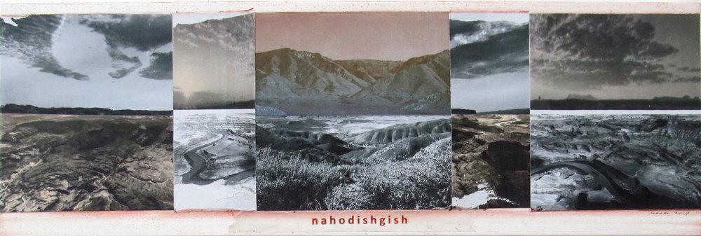 "Nahodishgish (study for a subversive landscape painting)   2017  10"" x 30""  Mixed media: photo print transfers and acrylic paint on canvas   $100"