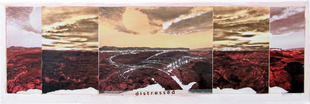 """Distressed (study for a subversive landscape painting)   2017  10"""" x 30""""  Mixed media: photo print transfers and acrylic paint on canvas   $100"""