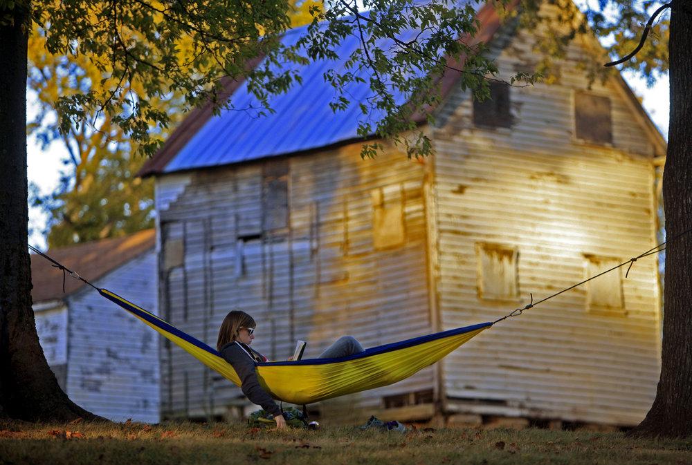 Jess Harrelson brings her hammock to Sevier Park to enjoy the last days of warm temperatures in October 21, 2010 Nashville, Tenn.