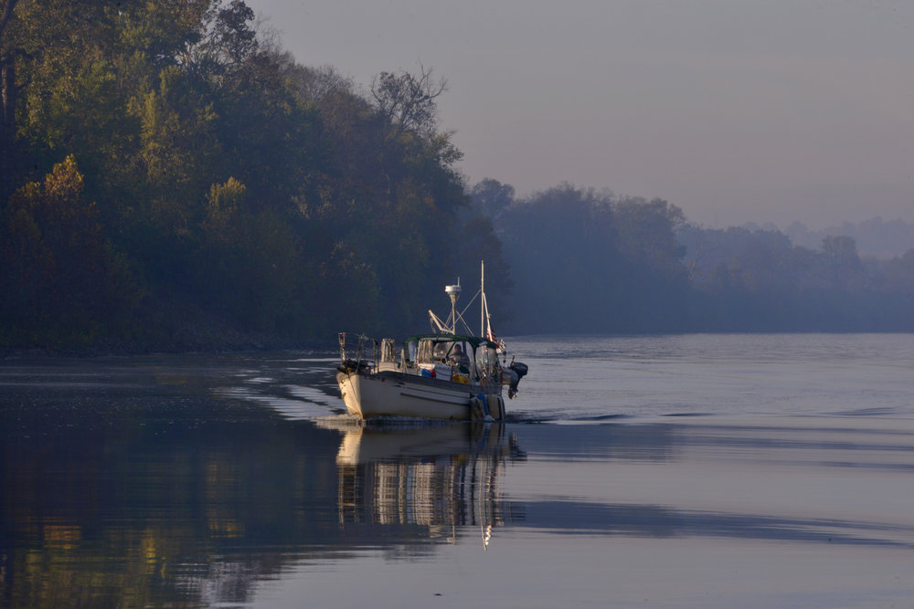 A boat makes its way down the Cumberland River October 23, 2015 in Nashville, Tenn.