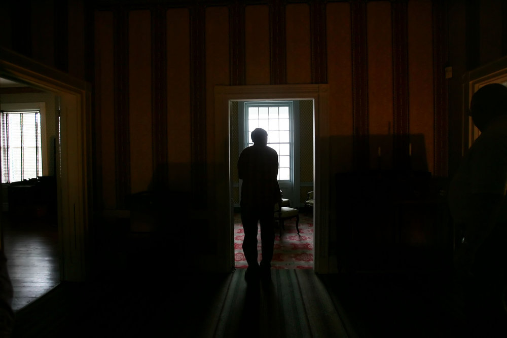 Visitors tour Carnton plantation, a civil war era house that became a field hospital during the Battle of Franklin, called the bloodiest five hours of the civil war. Blood and ether stains are soaked into the old wooden floors of the house Thursday, February 26, 2009 in Franklin, Tenn.