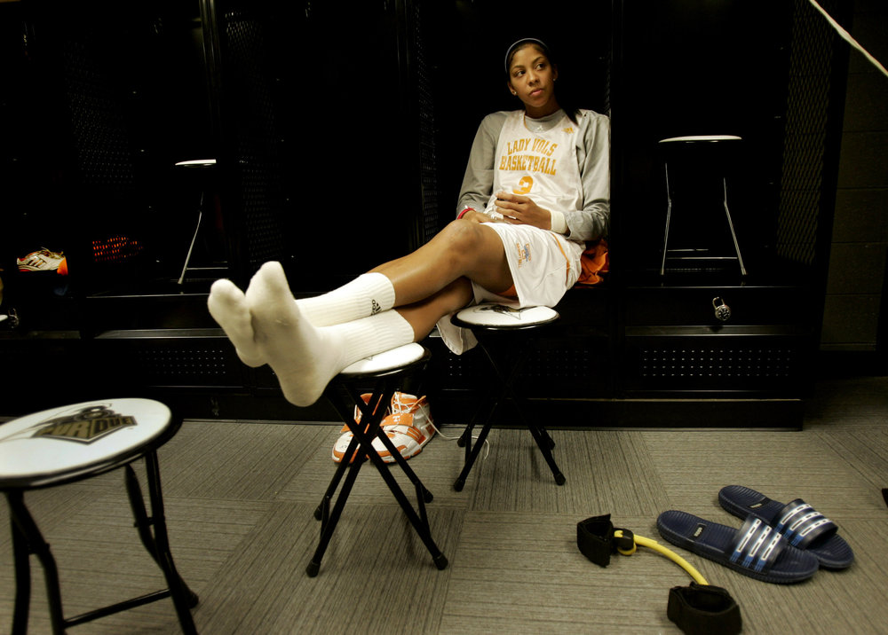 Candace Parker relaxes in the locker room during a press conference Monday, March 24, 2008 at the NCAA women's basketball tournament subregionals at Purdue University in West Lafayette, Indiana.