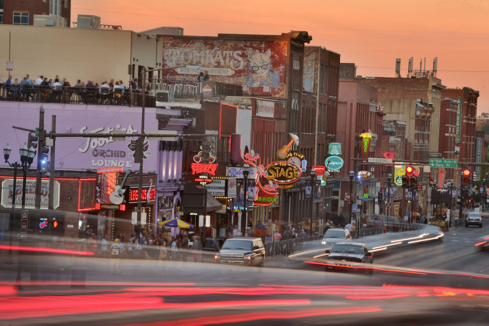 Broadway Avenue along honky tonk row in downtown Nashville, Tenn.