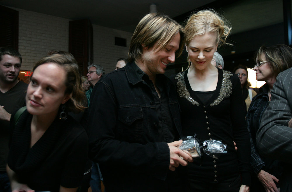 "Keith Urban and Nicole Kidman share a moment of celebration at the ""No.1 Party"" honoring Urban's latest hit at BMI Monday, November 3, 2008 in Nashville, Tennessee."