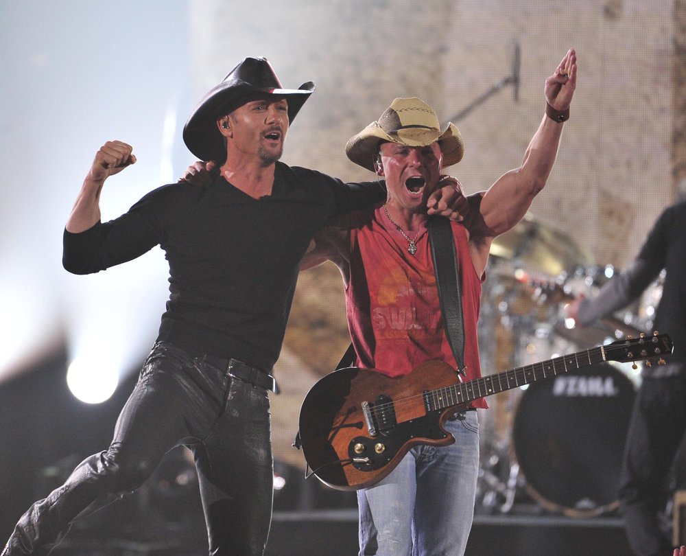 Kenny Chesney and Tim McGraw perform at the ACM Awards at the MGM Grand April 1, 2012 in Las Vegas, Nev.