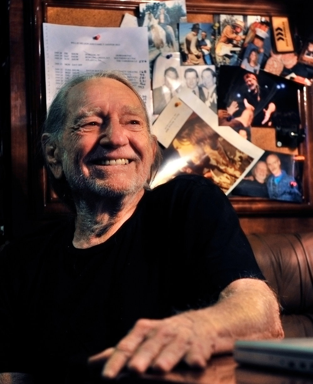 Willie Nelson on his tour bus after performing with Kris Kristofferson at the legendary Bluebird Cafe January 27, 2013 in Nashville, TN.