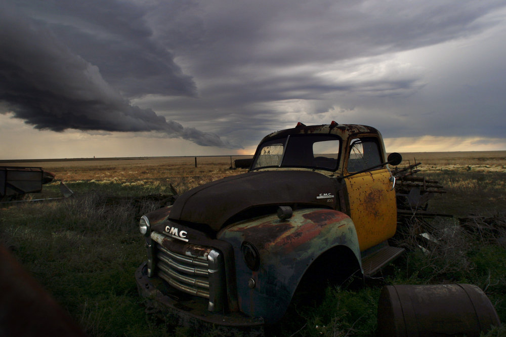 A look at America along iconic Route 66, winding from Chicago to Los Angeles.   A Texas storm blows across the prairie near an abandoned old GMC car east of Amarillo, Texas.