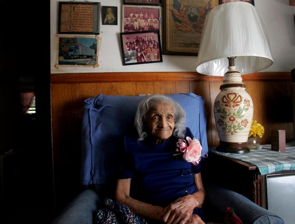 Priscilla Harris, 104, at her home in Nashville, Tenn.  Harris was born in Iuka, Mississippi in 1904 and moved to Nashville with her husband in 1934.