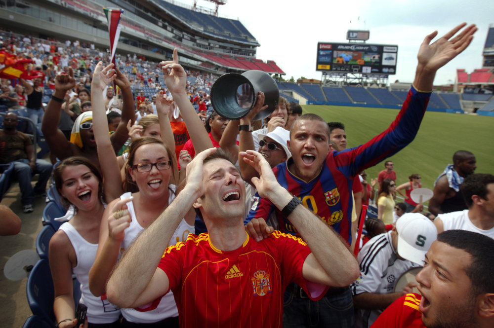 David Fernandez of Madrid, Spain cries with joy as Spain wins the World Cup at a viewing party held at LP Field Sunday, July 11, 2010 in Nashville, Tenn.