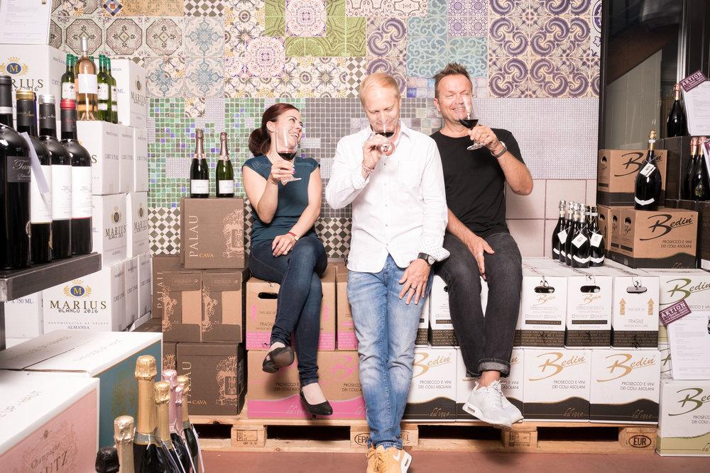 Das Weindepot Team - Christina, Sebastian und Michael