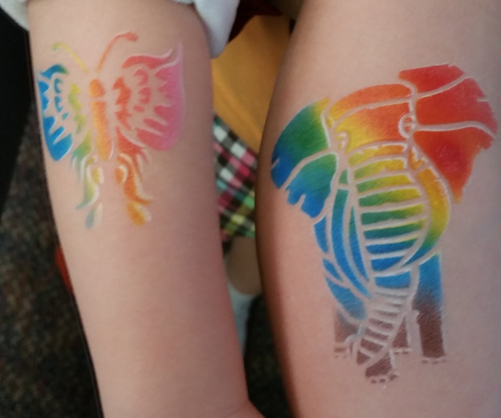 Airbrush tattoos - Airbrush Tattoos last 3-7 days and are waterproof and are easily removed with rubbing Alcohol or coconut oil. We use only professional temporary tattoo ink that is hypo-allergenic and made to be on the skin.We can tattoo 30-35 people per hour. These are great for pool parties, adult parties, sporting events, birthday parties, teen parties, graduation parties, after proms, block parties and more!