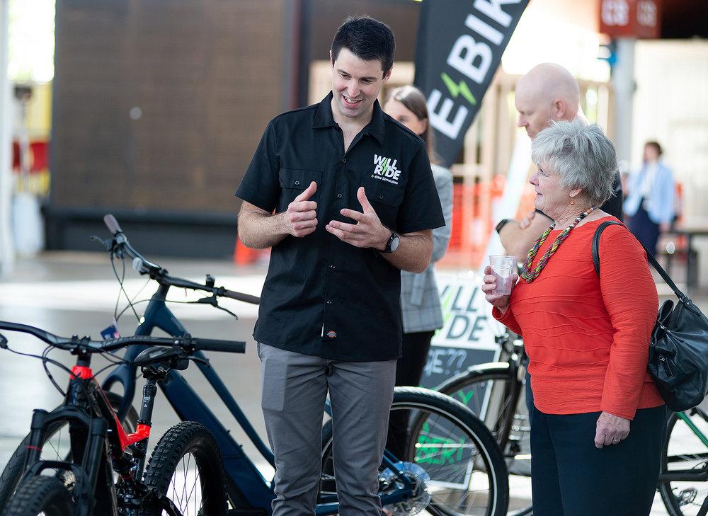 Will Rischbieth of Will Ride demonstrates his e-bikes.