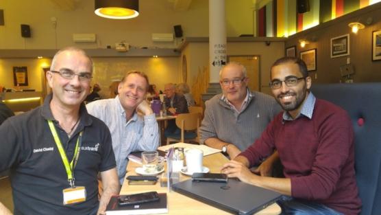 David Clasby, Matt Easter, and Martin Philpott of Sustrans Nottingham with BAG Treasurer Matthew Farrugia