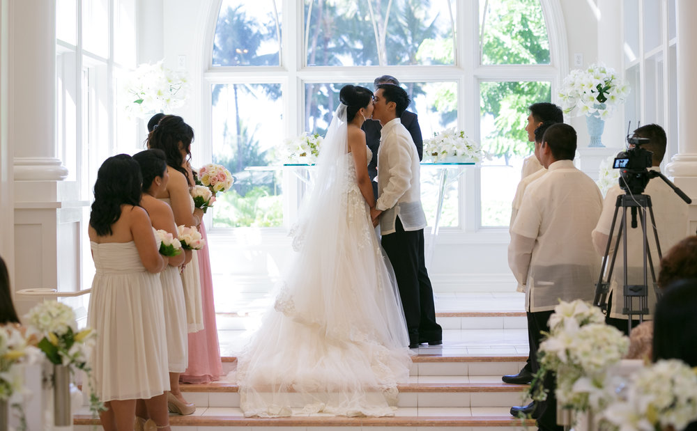 Wedding ceremony at Akala Chapel at Hilton Hawaiian Village