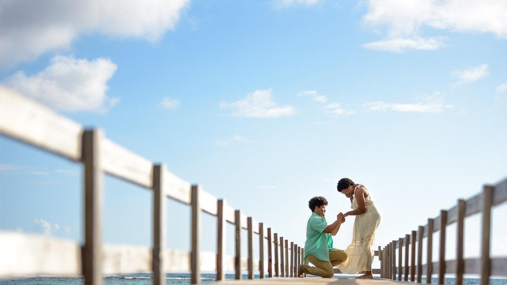 A surprise proposal in Waimanalo, Hawaii.