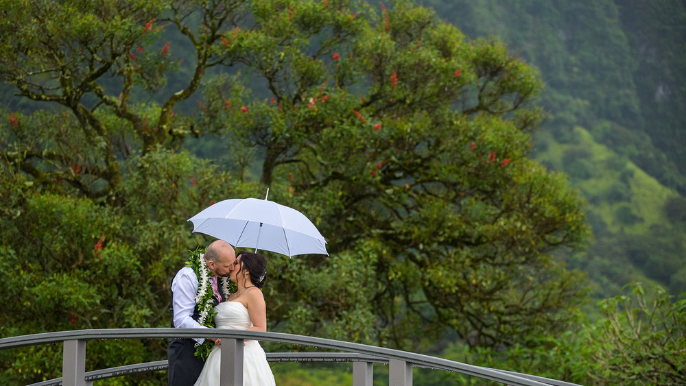 The bride and grooms first look at the Koolau Ballroom in Hawaii.