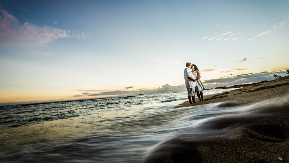 Sunset engagement session in Hawaii.