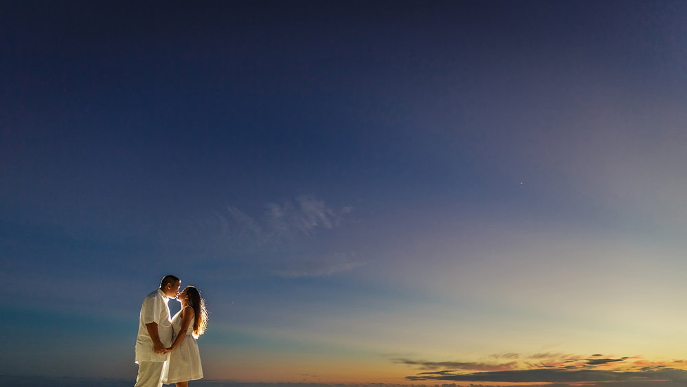 A beautiful engagement session during the sunset in Hawaii.