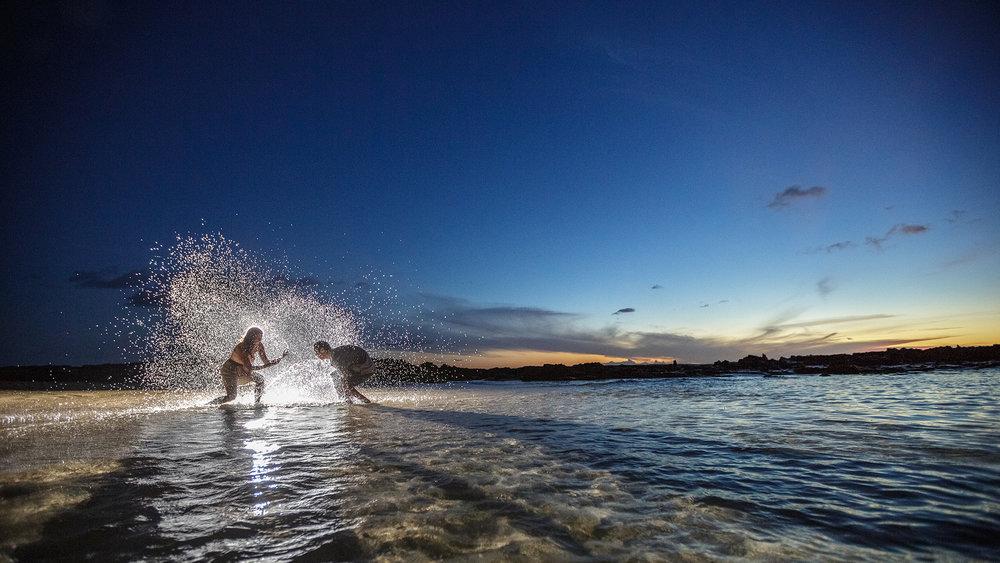 Fun engagement session at sunset. Ko'Olina, Hawaii.