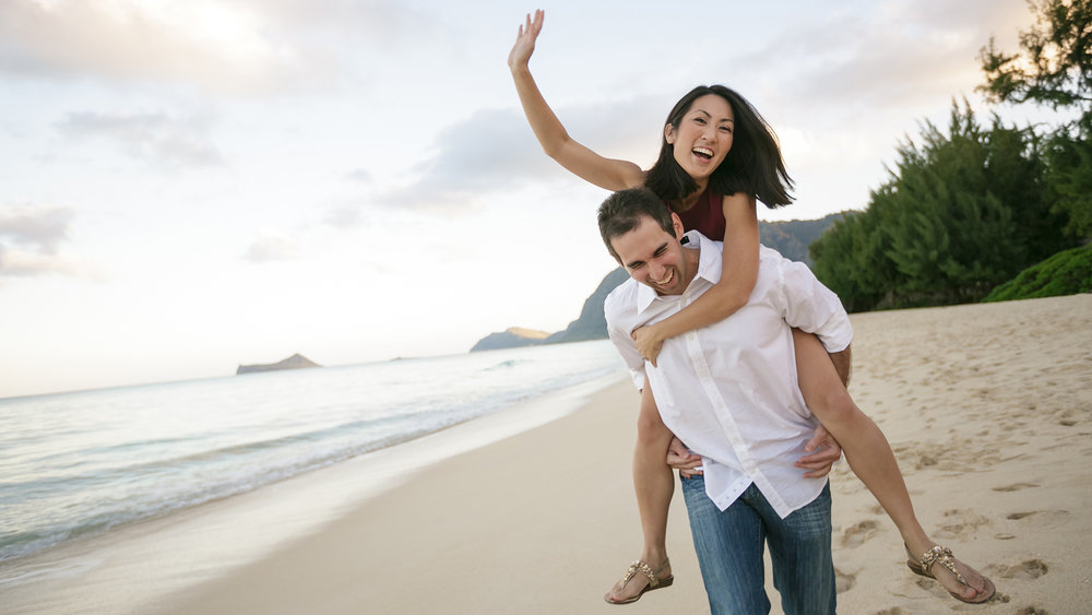 A fun engagement session at Sherwood Forest in Waimanalo, Hawaii.