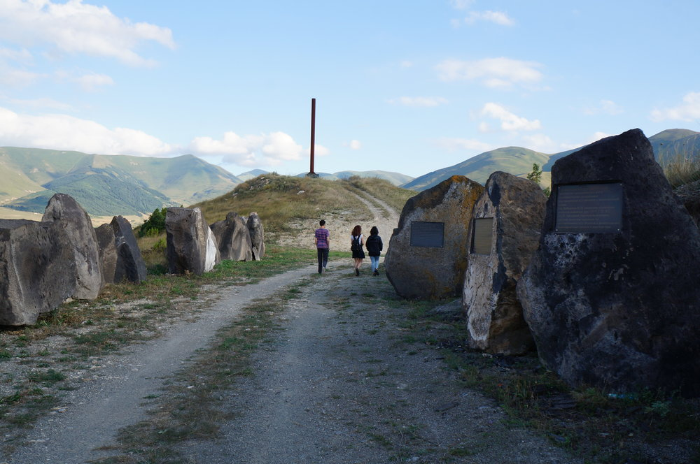 Our team visits a historical site in Spitak.