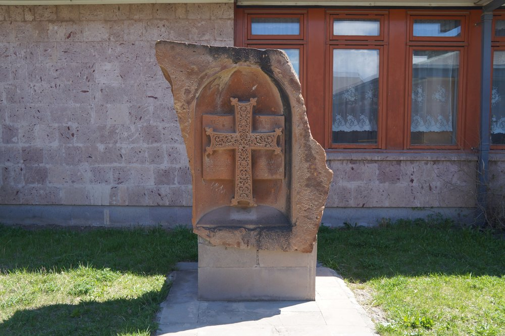"""This memorial cross, also known as a """"khachkar"""", was created when the Lord Byron School opened.  There is a sister cross in Hucknall, England where Lord Byron is buried."""