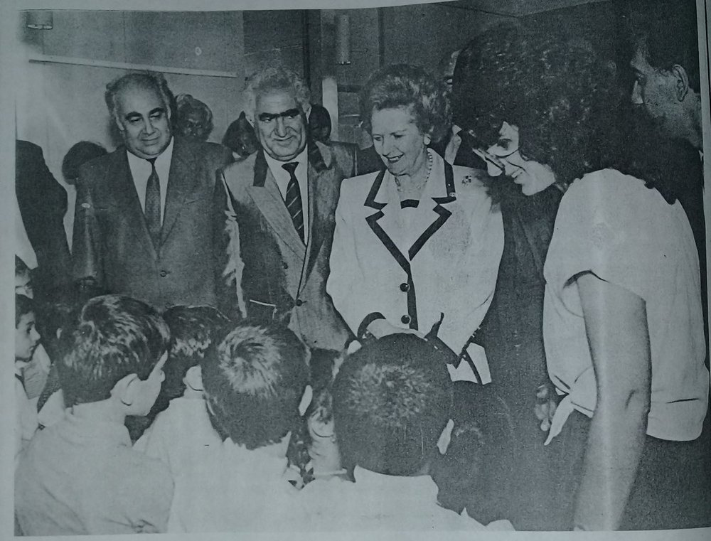Prime Minister Margaret Thatcher meeting students in Gyumri from the original school number 20 that was destroyed.