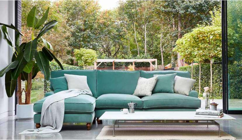 WHINFELL CHAISE SOFA - High quality luxury sofa with lifetime guarantee, handcrafted in the UK. Guaranteed to bring people together in one spacious, comfortable and luxurious seating area. What a time to be alive!