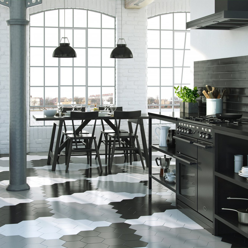 Black Hexagon Satin Wall & Floor - A truly versatile porcelain tile that can be used in any room of the home on any surface, as a wall or floor tile.