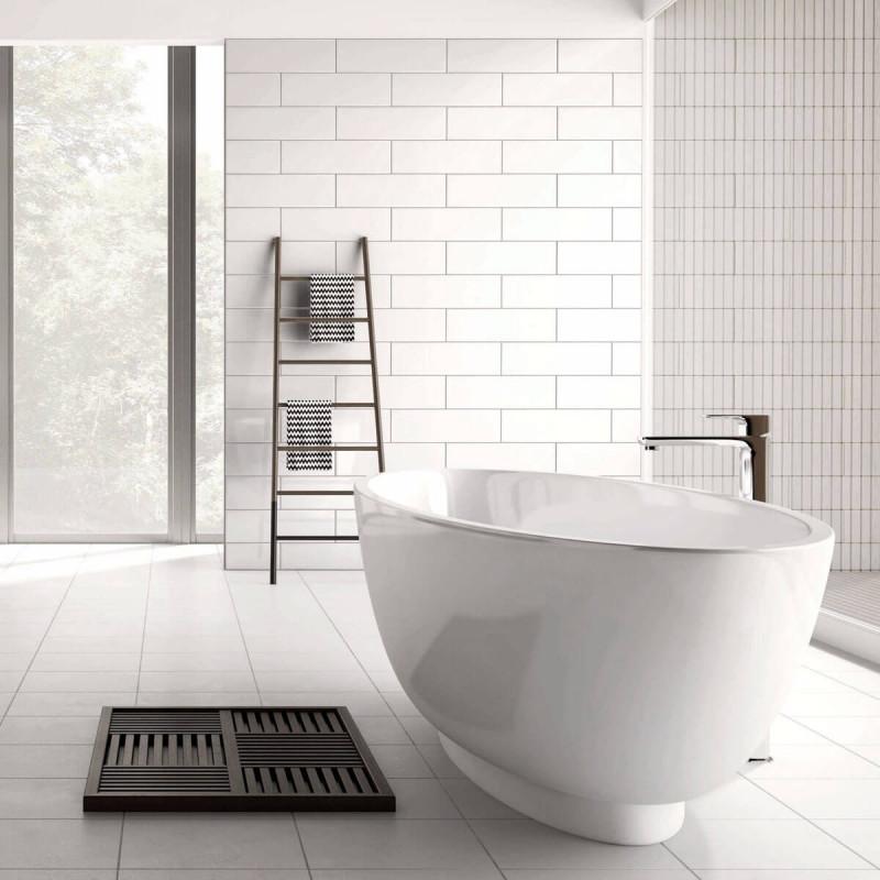White Matt Floor - Bringing you a step closer to your dream bathroom with this White Matt Floor from British Ceramic Tile.