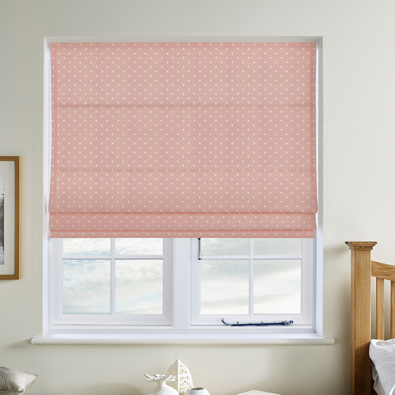 dotty rose roman blinds from £23 - Bring funky dots and character to your room with Dotty Rose Roman blinds. Expertly made to measure in Direct Blinds factory. If you would like to know more about fitting your blinds before you order, checkout the fitting video on the product page.