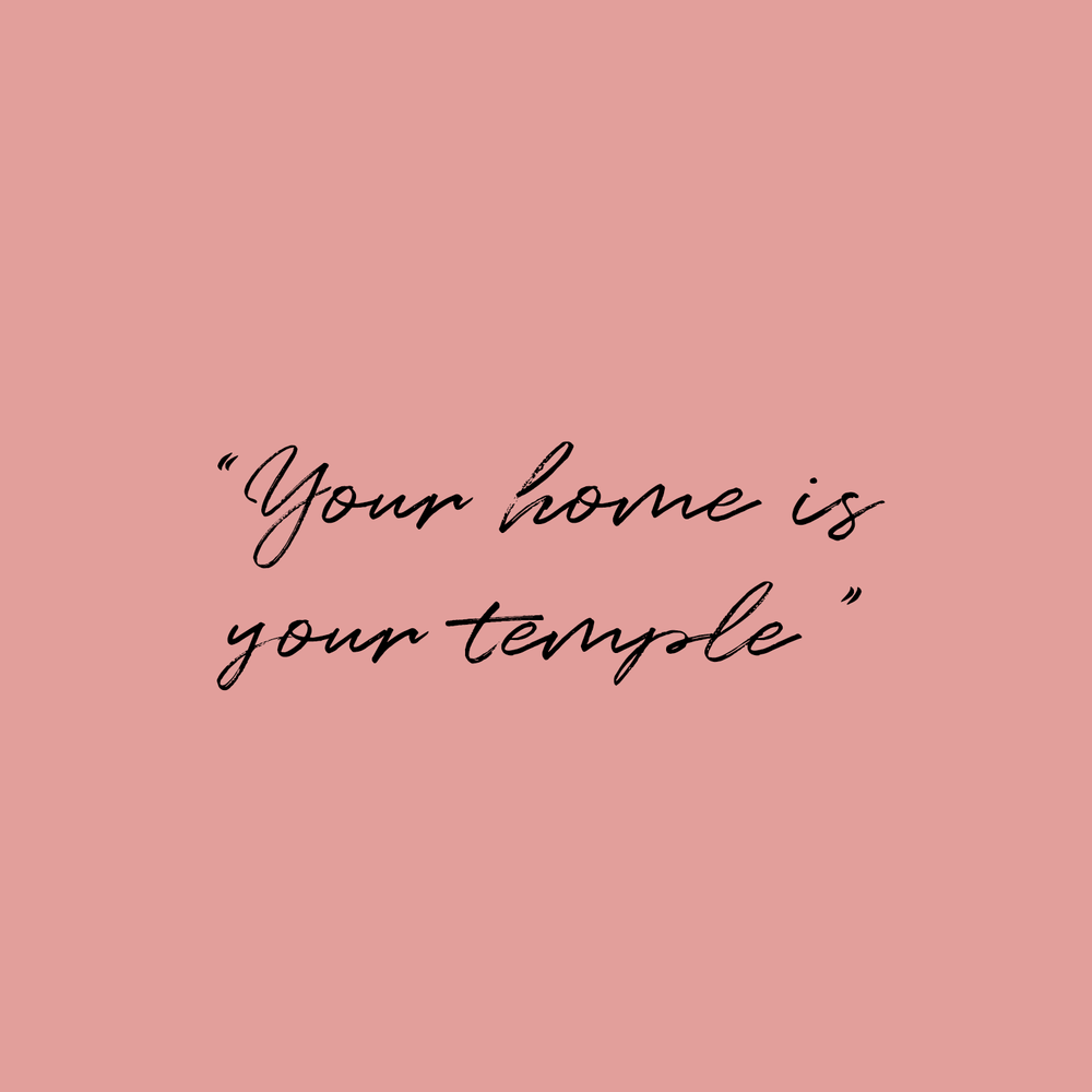 Direct blinds quote 'Your home is your temple' on a blush pink background